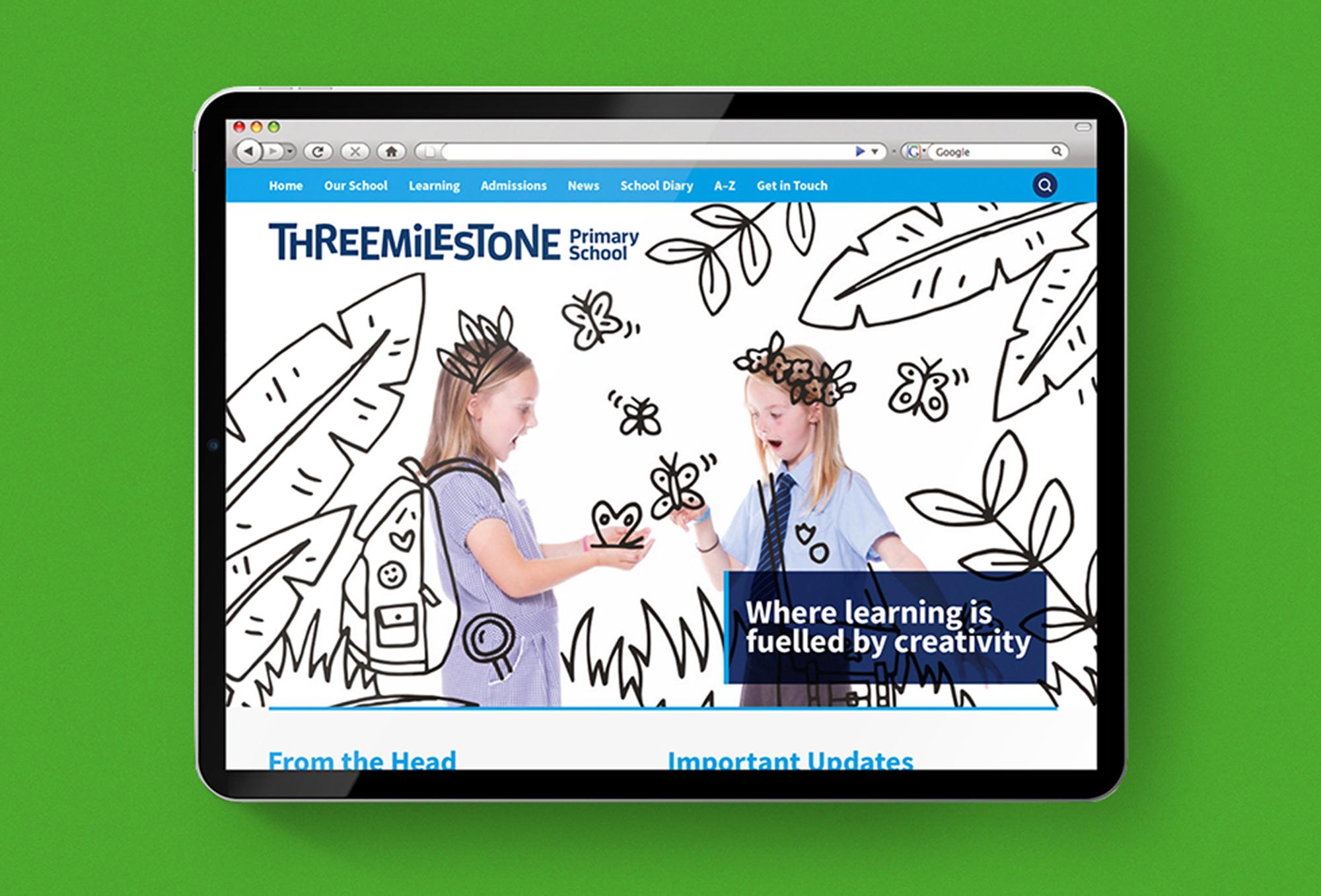 Threemilestone School branding