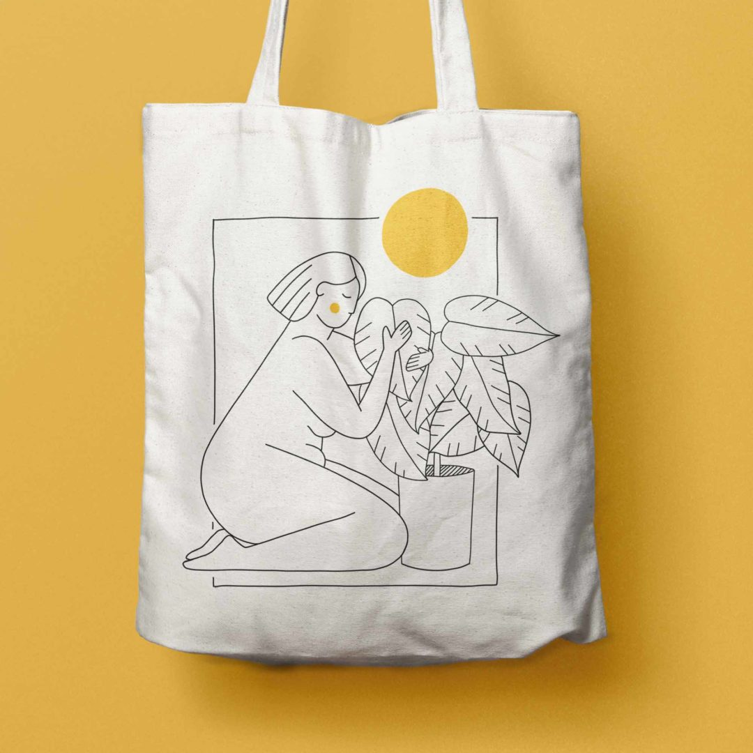 Me and my plants illustrated tote bag