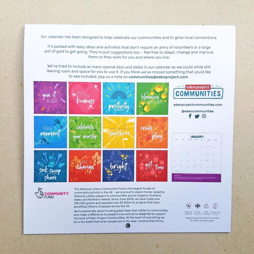 Eden Project Communities Calendar - back cover